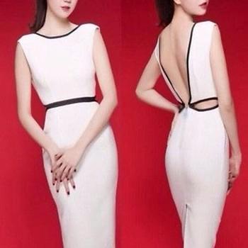 Đầm body trắng hở lưng chữ V như Ngọc Trinh DOV8