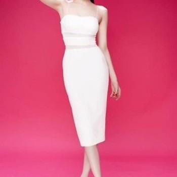 Váy 2 dây ôm body thiết kế phối lưới như Ngọc Trinh DV616