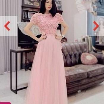 Đầm dạ hội đi tiệc ren váy lưới xòe sắc hồng quyến rũ DDH26