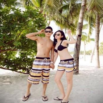 Quần đôi nam nữ đi biển sọc trắng vàng made thailan C8