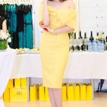 Đầm ôm vàng bệt vai quyến rũ sang trọng DOV14