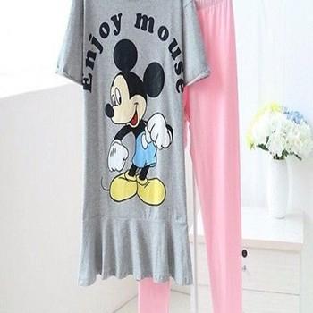 Đồ bộ ngủ hình mickey enjoy mouse kiểu áo xòe nhẹ + quần dài NN421