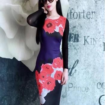 Đầm body tay dài phối lưới họa tiết Hoa Hồng Đỏ DZ33