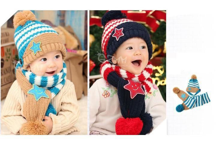 Bộ khăn nón len Ngôi sao Xanh dành cho bé 03 tháng - 03 tuổi 8