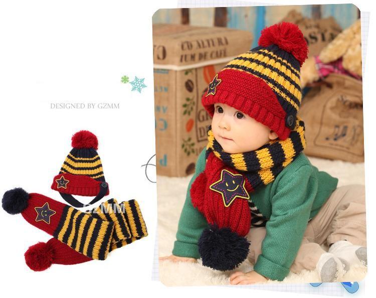 Bộ khăn nón len Ngôi sao Xanh dành cho bé 03 tháng - 03 tuổi 3