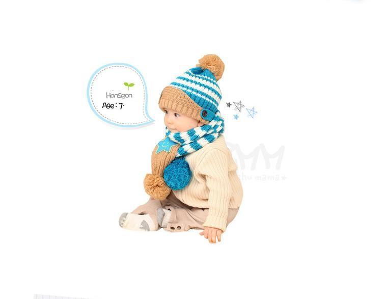 Bộ khăn nón len Ngôi sao Xanh dành cho bé 03 tháng - 03 tuổi 4