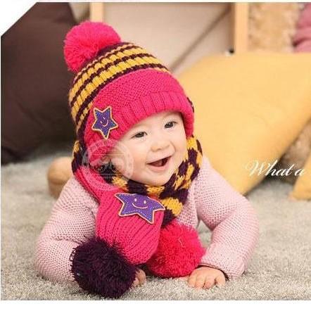 Bộ khăn nón len Ngôi sao Xanh dành cho bé 03 tháng - 03 tuổi 2