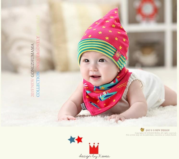 Bộ khăn nón vải ngôi sao sọc cho bé o tháng - 18 tháng 5