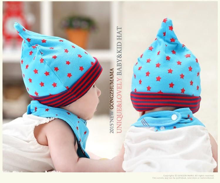 Bộ khăn nón vải ngôi sao sọc cho bé o tháng - 18 tháng 8