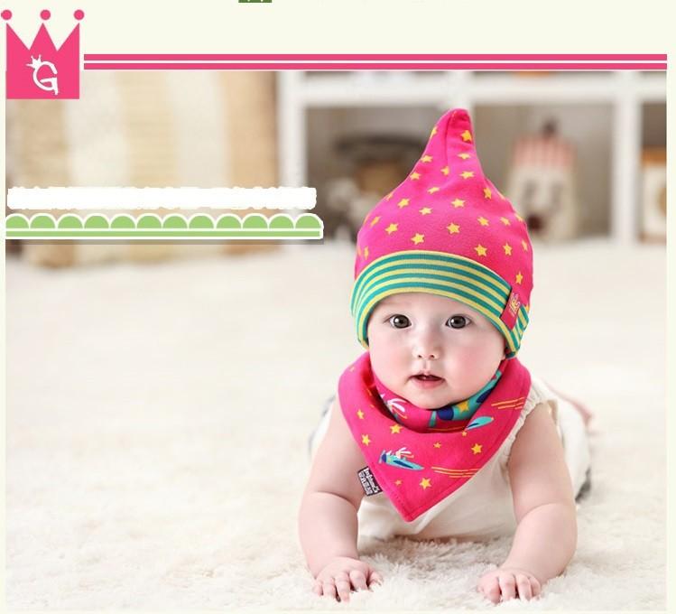 Bộ khăn nón vải ngôi sao sọc cho bé o tháng - 18 tháng 9