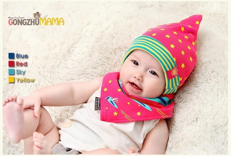 Bộ khăn nón vải ngôi sao sọc cho bé o tháng - 18 tháng 3