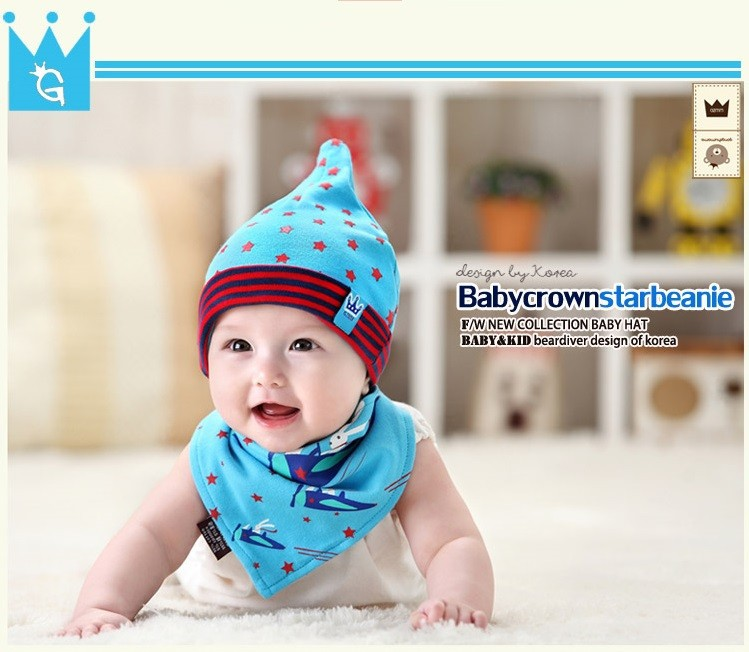 Bộ khăn nón vải ngôi sao sọc cho bé o tháng - 18 tháng 2