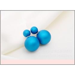Bông tai  ngọc trai 2 mặt nhung trơn màu xanh Coban