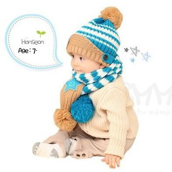 Bộ khăn nón len Ngôi sao Xanh dành cho bé 03 tháng - 03 tuổi