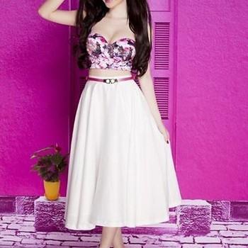 Chân váy xòe áo cúp hoa xinh xắn như Phương Trinh DV647
