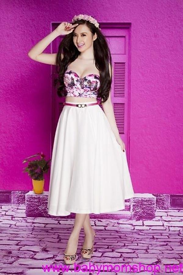 Chân váy xòe áo cúp hoa xinh xắn như Phương Trinh DV647 1