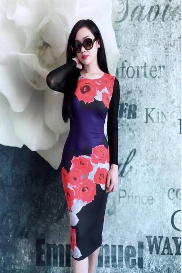 Đầm body tay dài phối lưới họa tiết Hoa Hồng Đỏ DZ33 1
