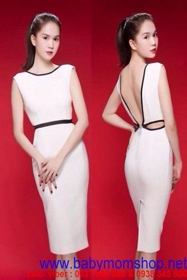 Đầm body trắng hở lưng chữ V như Ngọc Trinh DOV8 1