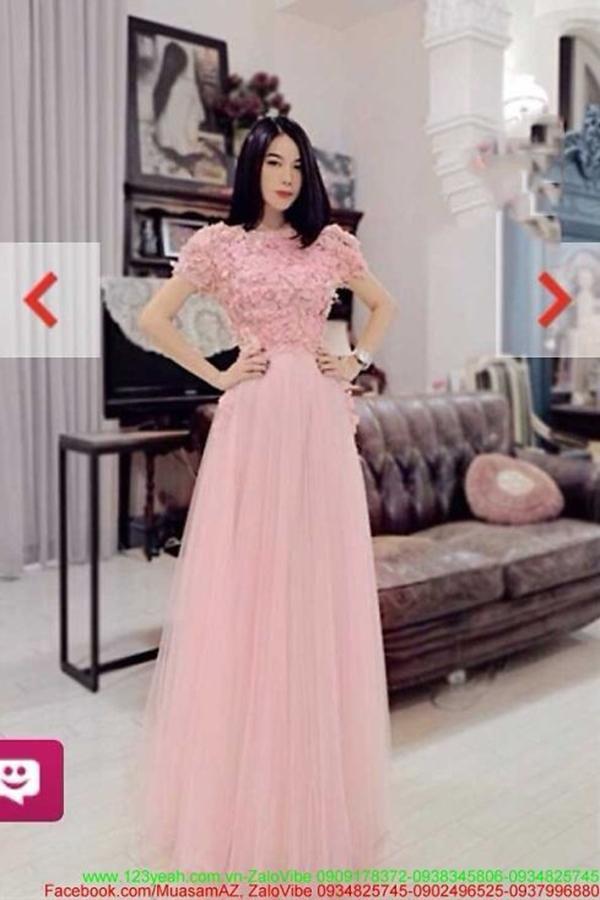 Đầm dạ hội đi tiệc ren váy lưới xòe sắc hồng quyến rũ DDH26 1