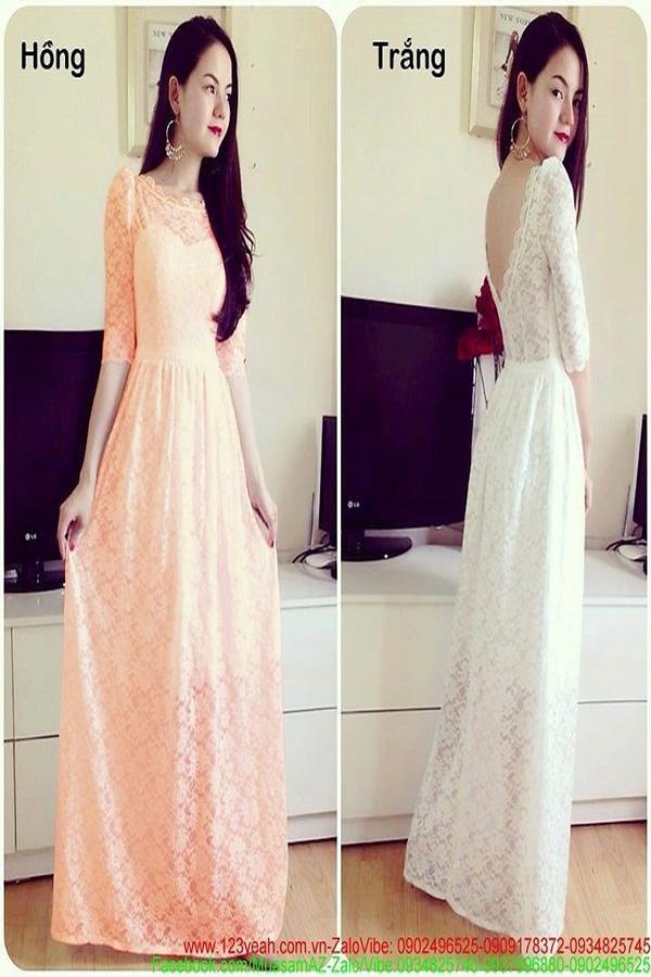 Đầm dạ hội ren hoa dài tay hở lưng V quyến rũ sang trọng DDH40 1