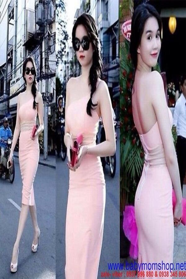 Đầm ôm lệch vai hở lưng màu hồng dễ thương quyến rũ DOV12 1