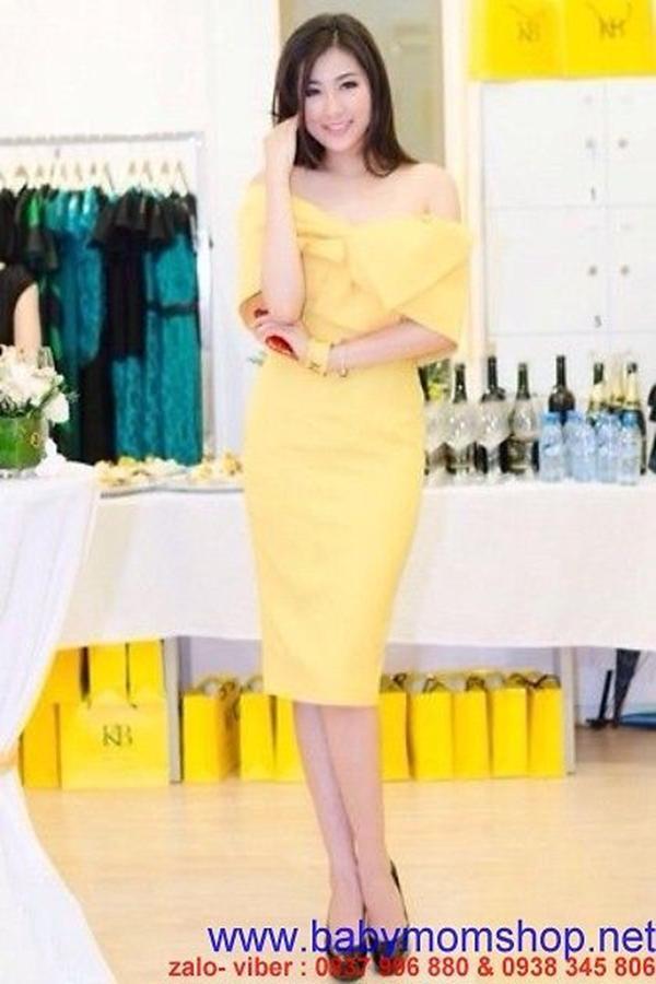 Đầm ôm vàng bệt vai quyến rũ sang trọng DOV14 1