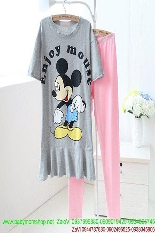 Đồ bộ ngủ hình mickey enjoy mouse kiểu áo xòe nhẹ + quần dài NN421 1
