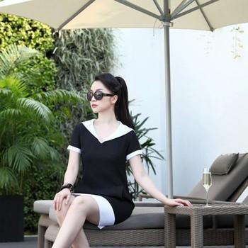 Đầm suông công sở màu đen viền trắng xinh như Linh Nga DV697
