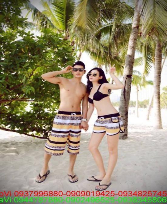Quần đôi nam nữ đi biển sọc trắng vàng made thailan C8 1