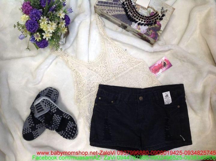 Quần short jean nữ đen xước cá tính thời trang QS43 1