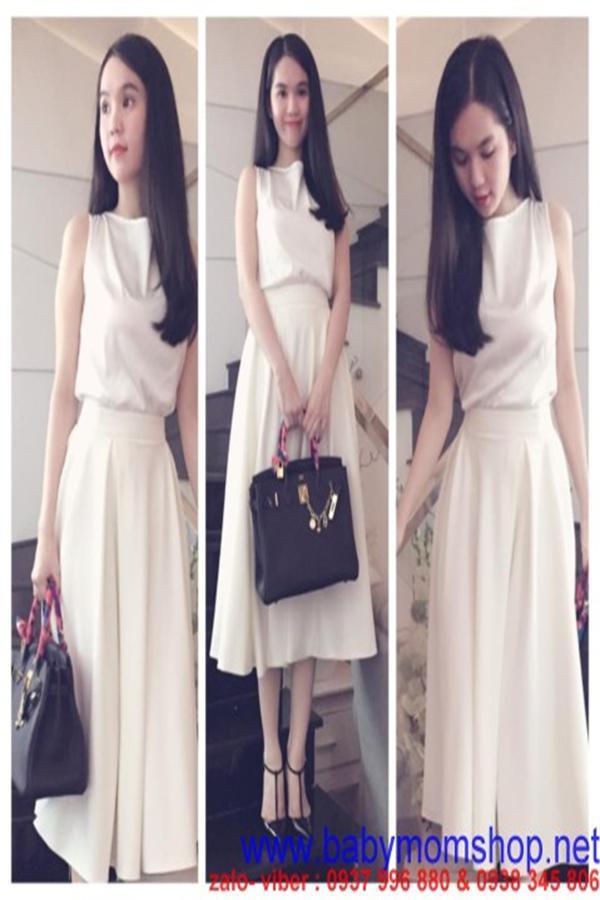 Set bộ áo phi bóng và chân váy xòe xinh Ngọc Trinh DV568 1