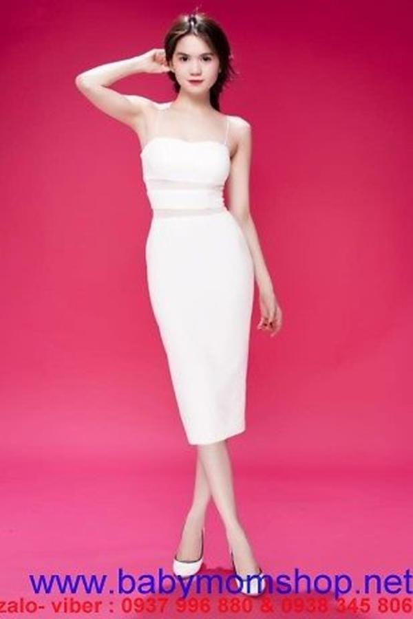 Váy 2 dây ôm body thiết kế phối lưới như Ngọc Trinh DV616 1