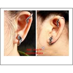 Bông tai nữ họa tiết mới lạ, cá tính màu bạc cổ và đồng cổ