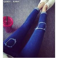 Quần jeans dài rách vuông Mã: QD631 - XANH