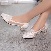 Giày gót vuông lưới kim tuyến