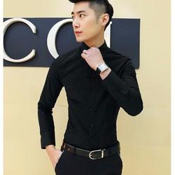 Aó sơ mi nam màu đen trơn vải đẹp from body cực chuẩn