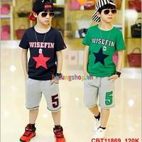 Bộ áo hình ngôi sao quần đùi hình dễ thương cho bé trai 8 - 14 tuổi