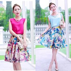Set Đầm chân váy xòe in 3D áo lụa mã BD08 - HÀNG CAO CẤP Y HÌNH
