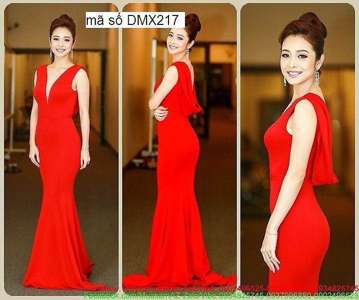 Đầm dạ hội màu đỏ cổ đỗ quyến rũ như Jennifer Phạm DDH64 1