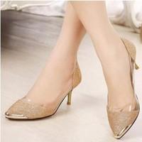 Giày cao gót ánh kim thời trang