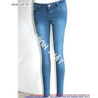 Quần jean nữ hot girl lưng cao woat rách nhẹ sành điệu QJE155