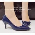 Giày cao gót bít mũi nhọn trơn 6p xanh đậm-GX181