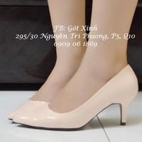 Giày cao gót mũi nhọn trơn 6p nude-GX180