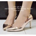 Giày cao gót mũi nhọn trơn 9p vàng đồng-GX183