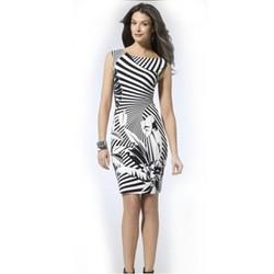 Đầm body họa tiết trắng đen