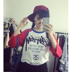 áo thun nữ phối màu new york Mã: AX2083 - ĐỎ