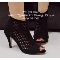 Giày boot cao gót cắt lazer da lộn-GX186