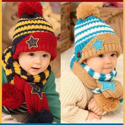 Bộ khăn nón ngôi sao có quai dành cho bé từ 03 tháng - 03 tuổi