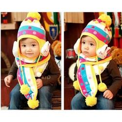 Bộ khăn nón len tai thỏ cho bé 03 tháng - 03 tuổi