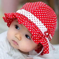 Nón vành chấm bi đỏ dành cho bé 0 - 1 tuổi